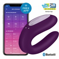 "ВИБРАТОР ДЛЯ ПАРЫ ""SATISFYER"" DOUBLE JOY VIOLET, СИНХРОНИЗАЦИЯ С ПРИЛОЖЕНИЕМ, 9 СМ"
